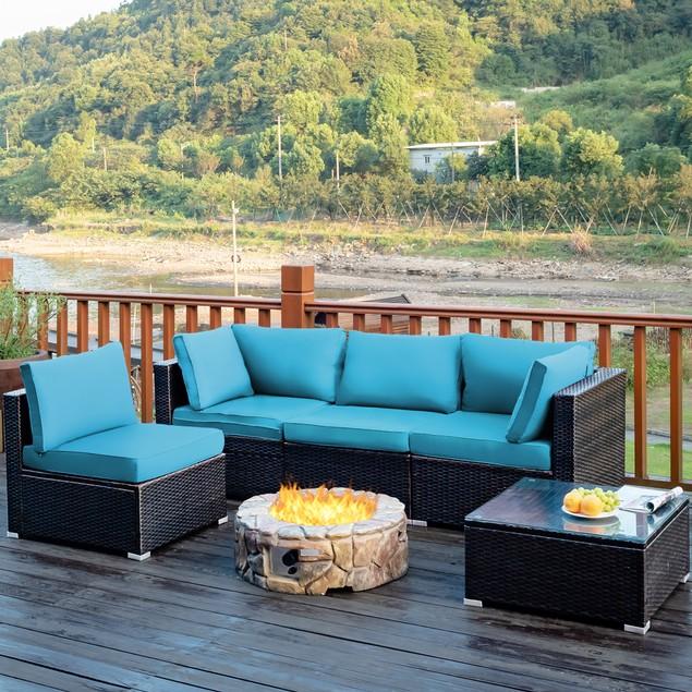 Costway 5PCS Patio Rattan Furniture Set W/ Coffee Table