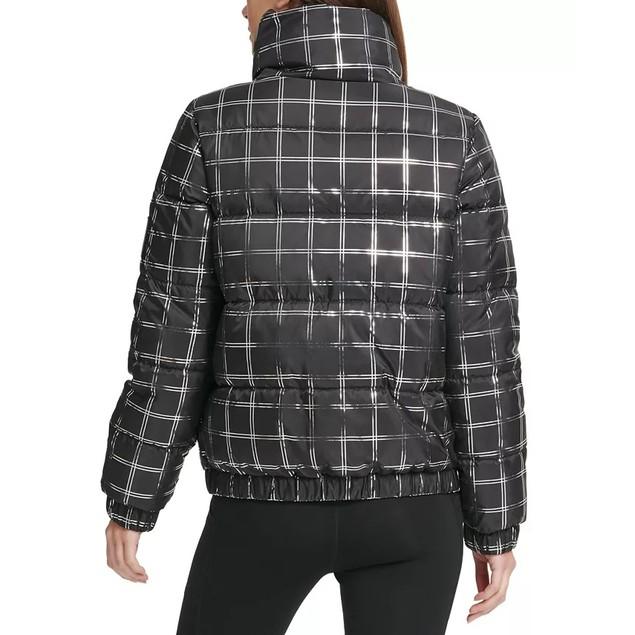 DKNY Sport Women's Metallic Plaid Puffer Jacket Black Size Small