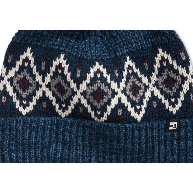 Block Hats Men's Ribbed Knit Air Isle Beanie with Pom Navy One SIze