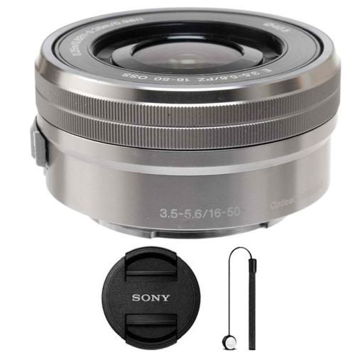 Sony E PZ 16-50mm f/3.5-5.6 OSS Silver Lens + Lens Cap Holder