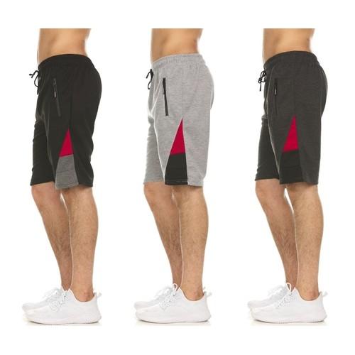 3-Pack Men's Moisture-Wicking Shorts with Zipper Pockets