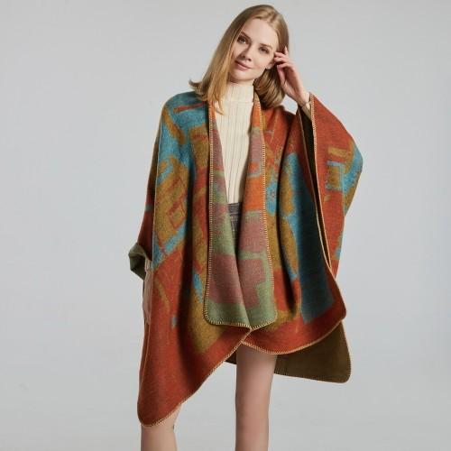Ladies Scarf Fashion Jacquard Split Thick Warm Shawl
