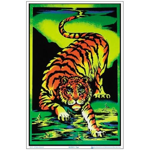 "Tiger Black Light Poster 23"" x 35"" Animal Crouching Jungle Blacklight Gift"