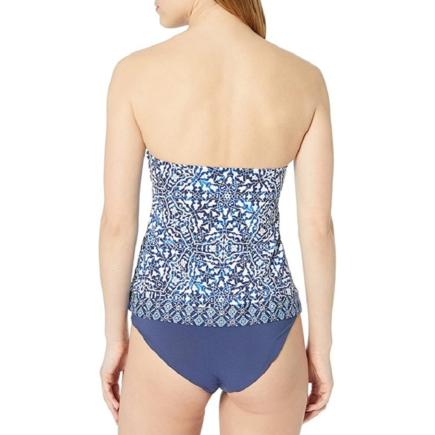 24th & Ocean Women's Handkerchief Tankini Swimsuit Top, S, Navy//Mosaic