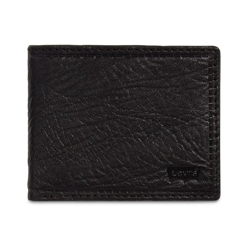 Levi's Men's Rfid Extra-Capacity Leather Wallet Black Size Regular