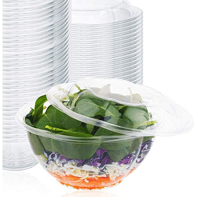 15 Pack Of 32 Or 48 Oz Clear Salad/ Fruit /lunch Plastic Bowl With Lids
