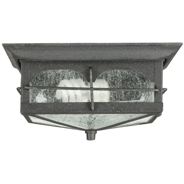 Home Decorators Collection 2-Light Brimfield Flushmount Lantern, Aged Iron