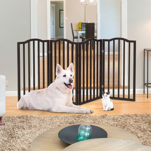 Wooden Pet Gate- Tall Freestanding 4-Panel Indoor , Foldable 72 x32 in