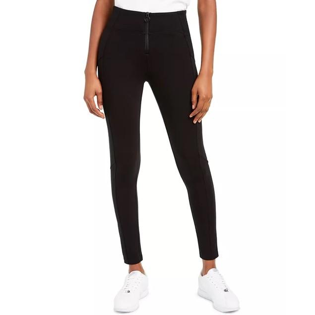 Rewash Junior's Zip Front Ponte Pants Black Size Large