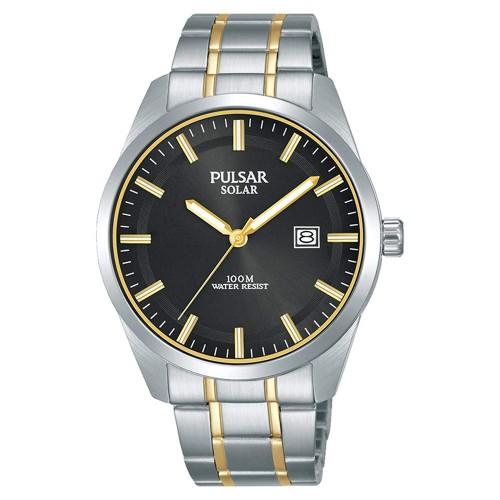 Pulsar PX3169X1 Mens Solar Stainless Steel Two Tone Bracelet 100M Watch