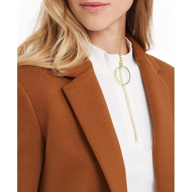 Calvin Klein Women's Open-Front Blazer Brown Size 2