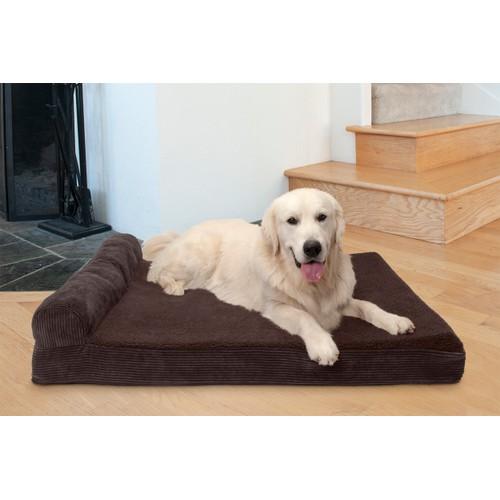 FurHaven Faux Fleece & Corduroy Chaise Lounge Cooling Gel Pet Bed