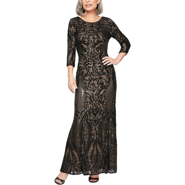 Alex Evenings Long Sequin Women's Fit and Flare Dress with ¾ Sleeve, 8,