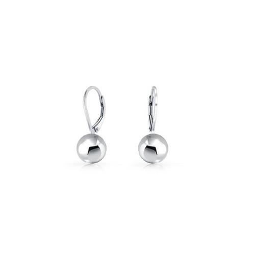 Italian Sterling Silver 6MM Leverback Ball Earrings