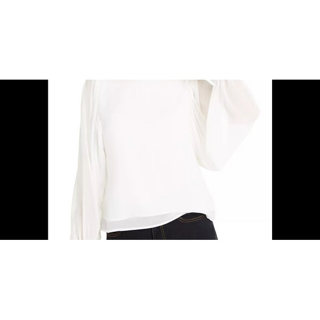 Q & A Women's Volume Sleeve Blouse White Size Large