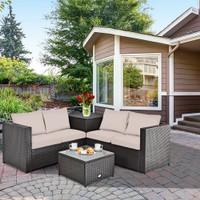 Costway 4PCS Outdoor Patio Rattan Furniture Set Cushioned Loveseat Storage