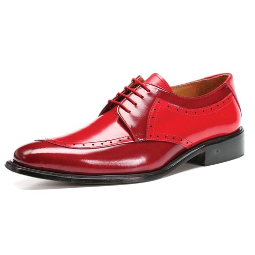 LibertyZeno Men's Oxford Medallion Toe Genuine Leather Lace Up Dress Shoes - 994