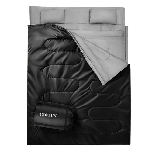Goplus  Double 2 Person Sleeping Bag Waterproof w/ 2 Pillows Camping Queen