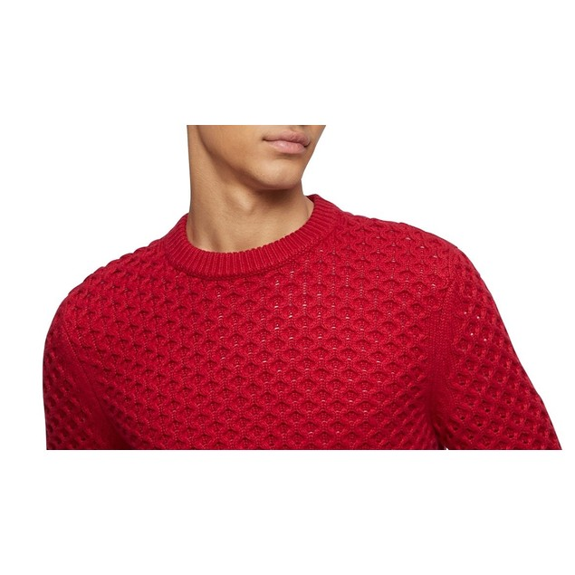 Calvin Klein Men's Honeycomb-Knit Sweater Red Size X-Small