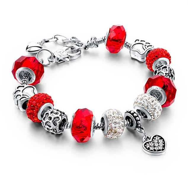 Adjustable Crystal Charm Bracelet - 5 Colors