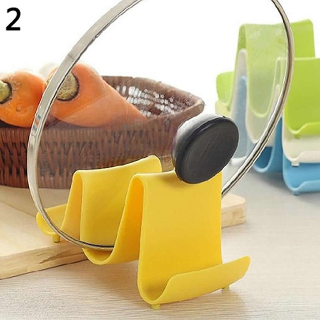 Wave Style Pan Pot Cover Spoon Lid Shell Rack Stand Holder