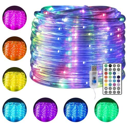 100 LEDs Rope Lights 33Ft 16 Colors Changing Garden Party Decoration Lights