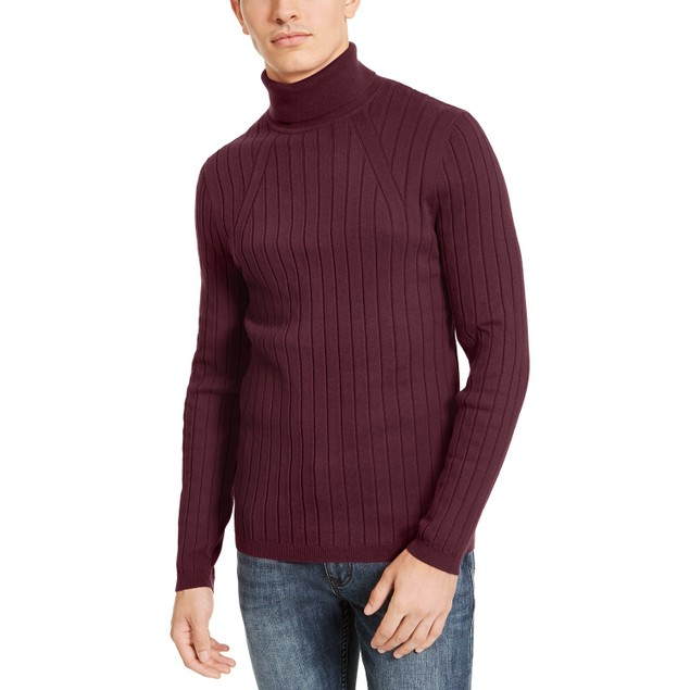 INC International Concepts Ribbed Turtleneck Sweater Wine 3 Extra Large