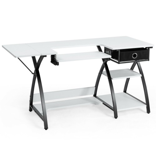 Costway Sewing Craft Table Folding Computer Desk Adjustable Platform w/ Dra