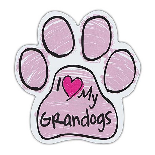 Pink I Love My Grandogs Scribble Paw Magnet
