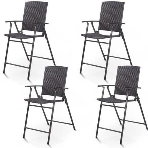 Costway 4 PCS Folding Rattan Wicker Bar Stool Chair Indoor &Outdoor Furnitu