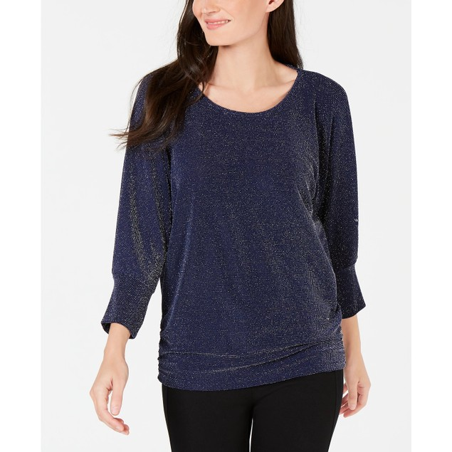 JM Women's Collection Metallic Boat-Neck Top Navy Size Small