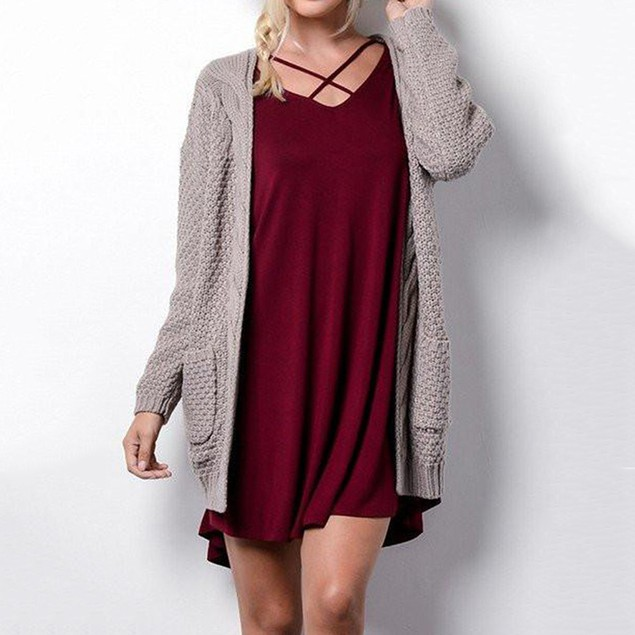 Women's Mid-Length Plus Size Pocket Twist Cardigan