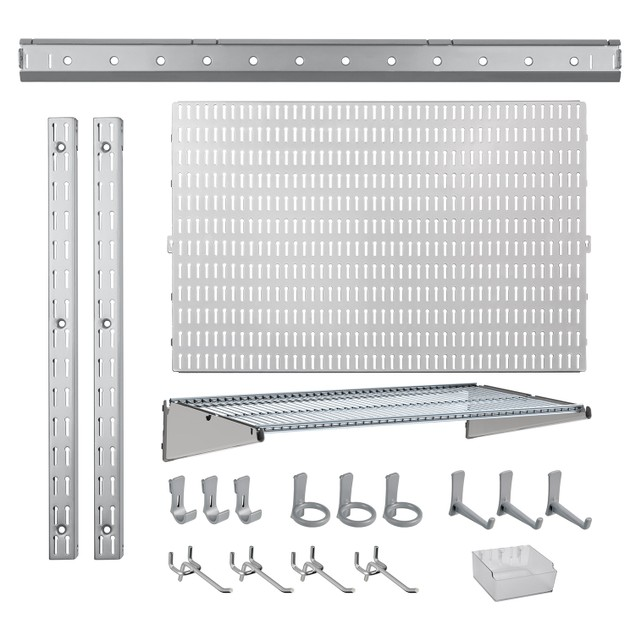 21 Pc. Garage Organizer System with Pegboard, Hooks and Hangers