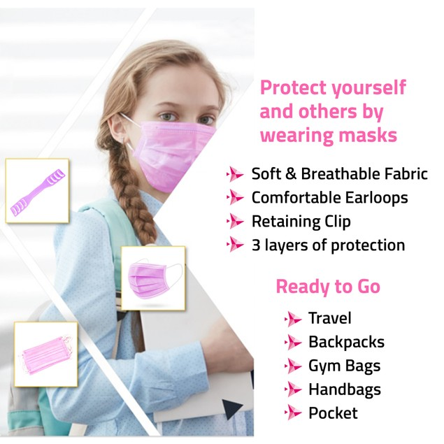 Offex Health Pack PPE Kit for School, Student, Kids 6-12 Years - Pink
