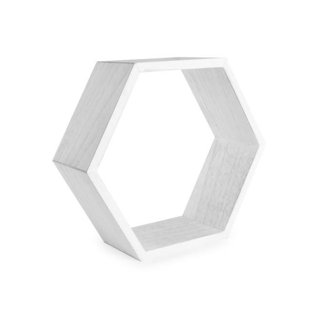 Hexagon Floating Shelves - Set of 3   MandW White