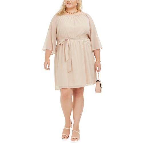 City Studios Women's Plus Size Trendy Tie-Waist Metallic Dress Gold Size 2X
