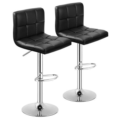 Costway Set of 2 Bar Stools Adjustable Swivel Kitchen Counter Bar Chair PU