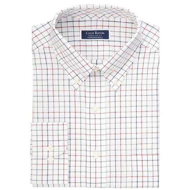 Club Room Classic/Regular Fit Stretch Tattersall Dress Shirt White 18x34-35