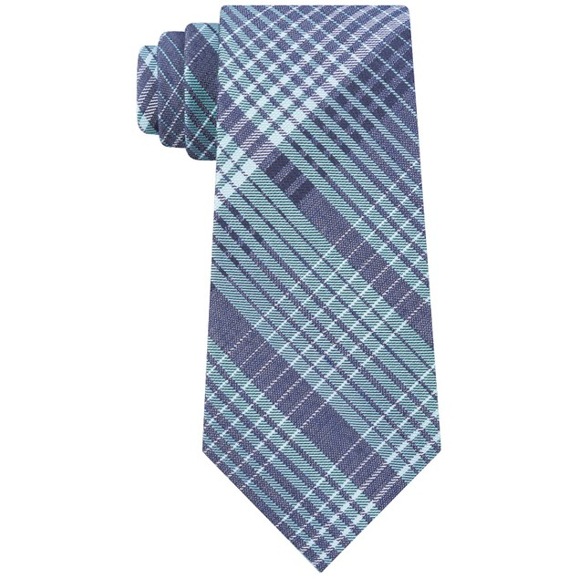Calvin Klein Men's Degrade Plaid Slim Tie Blue Size Regular