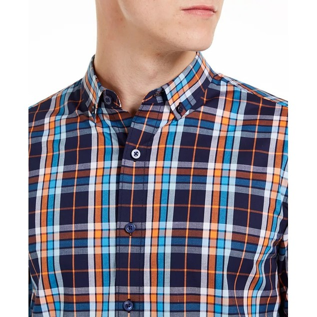 Club Room Men's Stretch Plaid Shirt Blue Size X-Large