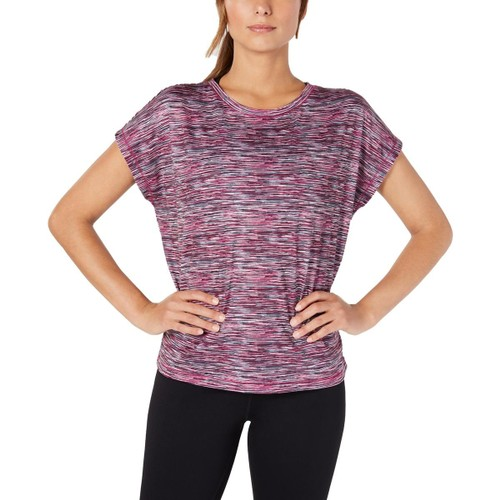 Ideology Women's Space-Dyed T-Shirt Fuchsia Crystal Size Large