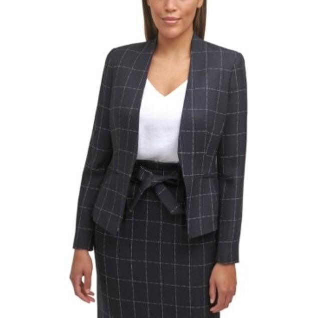 Calvin Klein Women's Windowpane Plaid Jacket Black Size 14