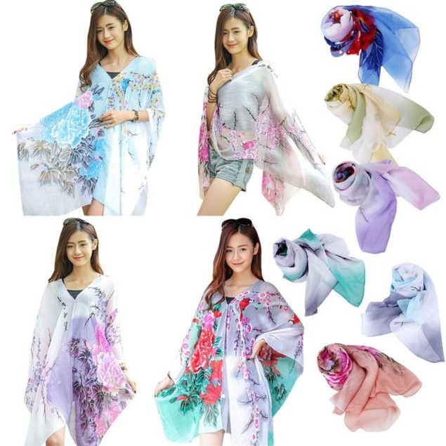 Women Chiffon Sunscreen Scarf Big Size Printed Silk Scarf
