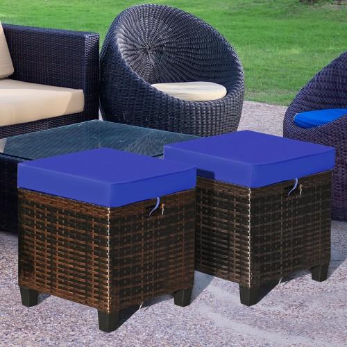 Costway 2PCS Patio Rattan Ottoman Cushioned Seat Foot Rest Coffee Table Fur