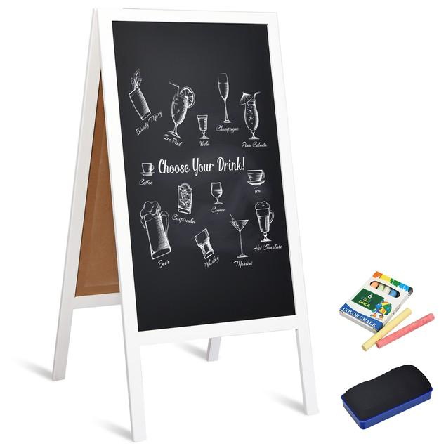 Costway 40'' A-Frame Chalkboard Menu Wedding Signage w/Eraser Chalk Natural