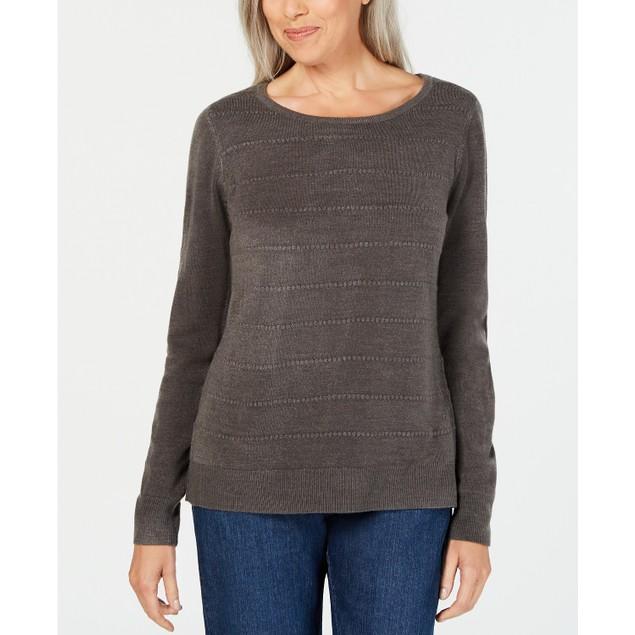 Karen Scott Women's Textured-Stripe Sweater Gray Size Small