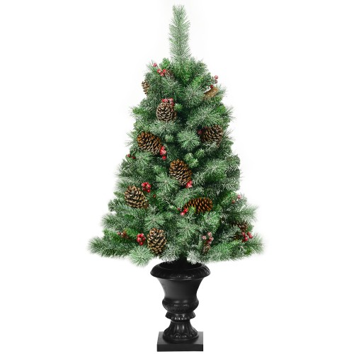 Costway 4 ft Christmas Entrance Tree with Pine Cones Red Berries and Glitte