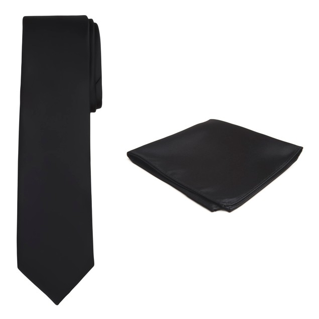 Jacob Alexander Solid Color Men's Tie and Hanky Set