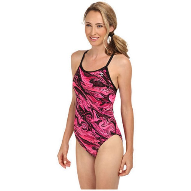 TYR Oil Slick Diamond Fit One Pice Swimsuit, Pink SIZE 28