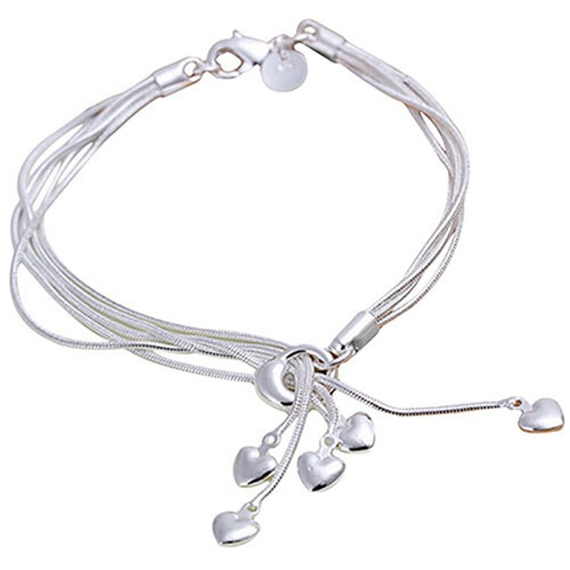 Women Fashion Five Hearts Silver Plated Bracelet